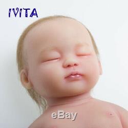 15'' Handmade Sleeping Baby Hair Girl Lifelike Silicone Reborn Doll Gifts Toys