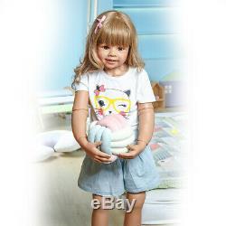 39 inch Reborn Toddler Doll Vinyl Full Body Bath Reborn Baby Dolls Standing Girl