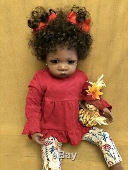 Ashton Drake Reborn Redone Jasmine At 1 1/2 AA Ethnic Baby Girl Toddler Doll