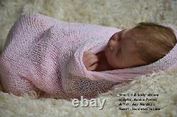 CUSTOM ORDER Silicone baby doll full body Sira with brown rooting hair