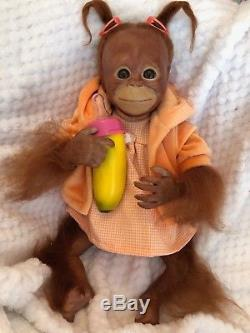 Cherish Dolls Reborn Baby Bindi Girl Boy Orangutan Monkey Lifelike Rooted Hair
