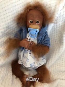 Cherish Dolls Reborn Baby Binki Girl Boy Orangutan Monkey Likelike Rooted Hair