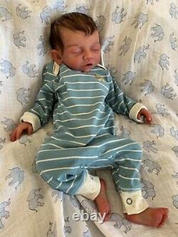 Custom order Bridger, full body solid silicone newborn baby boy doll