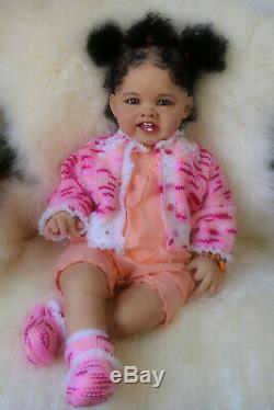 Ethnic black biracial Reborn baby toddler lifelike doll Adele by Ping Lau