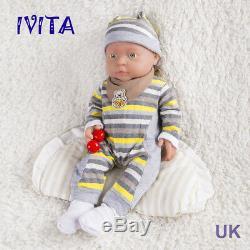 IVITA 16'' Full Silicone Reborn Baby BOY Realistic Green Eyes Silicone Doll 2KG
