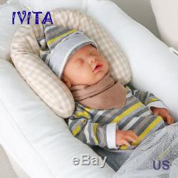 IVITA 18'' Full Body Soft Silicone Baby Eyes-closed BOY Sleeping Reborn Doll