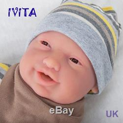 IVITA 23'' Full Body Soft Silicone Baby GIRL Big Eyes Lifelike Reborn Doll