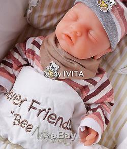 Ivita Eyes Closed Baby Doll Girl Full Body Soft Solid