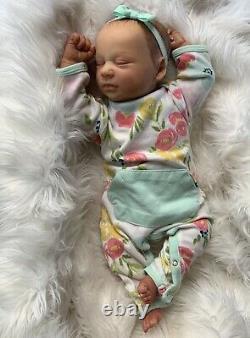 Ooak reborn baby hyper realistic doll. Marnie Asleep By Bountiful Baby