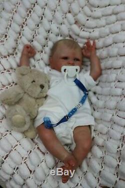 REBORN BABY BOY BLUE EYED DOLL PREEMIE 16 PREMATURE ARTIST OF 9yrs SUNBEAMBIES