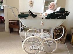 REDUCEDSilver Cross Vintage Coachbuilt Dolls Pram, Bedding & FREE REBORN DOLL
