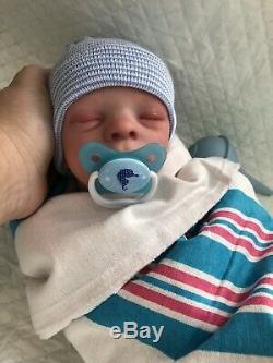 Reborn Baby BOY Leif Realborn Realistic Sleeping Newborn Therapy Doll