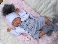 Reborn Baby Girl Doll Unicorn Romper Grey S