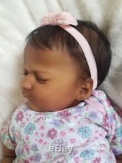 Reborn Baby Girl Realborn Ashley Asleep Sculpt Bountiful Baby AA Ethnic Doll