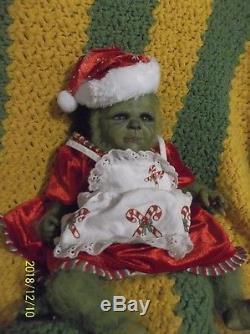 Reborn Christmas Green Yeti Monster Hybrid Grinch Ette Girl Baby Doll Fantasy