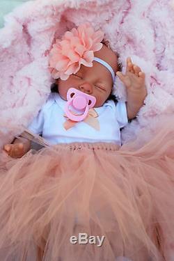 Reborn Girl Doll Peach Tutu Sleeping Baby Sofia S144