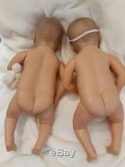 Reborn Twins Realistic Solid Soft Vinyl. Boy And Girl Thumb Suckers