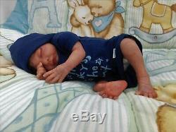 Reborn baby doll ethnic boy sleeping preemie biracial OOAK AA from Rosebud kit