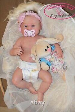 Solid Silicone Body Newborn Reborn Baby Blond Girl Reborn Doll Drink Wets Diaper