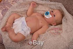 Solid cast silicone baby toddler girl (reborn doll) Drink & pee Handmade eye