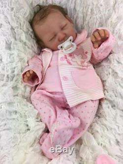 Stunning Reborn Baby Girl Doll Real Hand Rooted Hair Livvy Silicone Feel