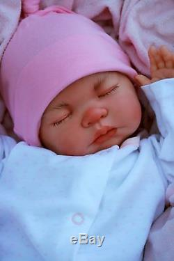 Stunning Reborn Baby Girl Doll Sleeping Baby Knot Hat All In One M200