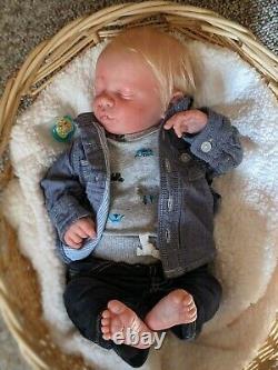 WILLIAMS NURSERY REBORN BABY BOY DOLL Realborn Christopher Asleep Rooted Hair