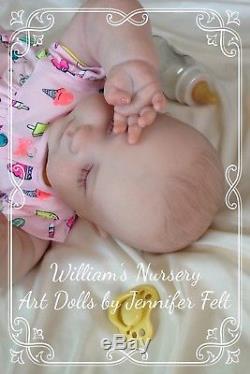 WILLIAMS NURSERY Realborn 3 month old Joseph Sleeping Reborn Baby Doll GIRL Hair